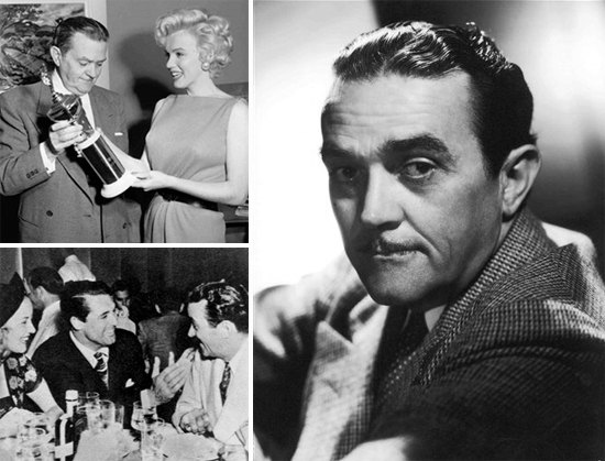 Top left: Billy Wilkerson with Marilyn Monroe; bottom right: Wilkerson with Cary Grant and friend at Trocadero; left: Wilkerson in photo taken by George Hurrell
