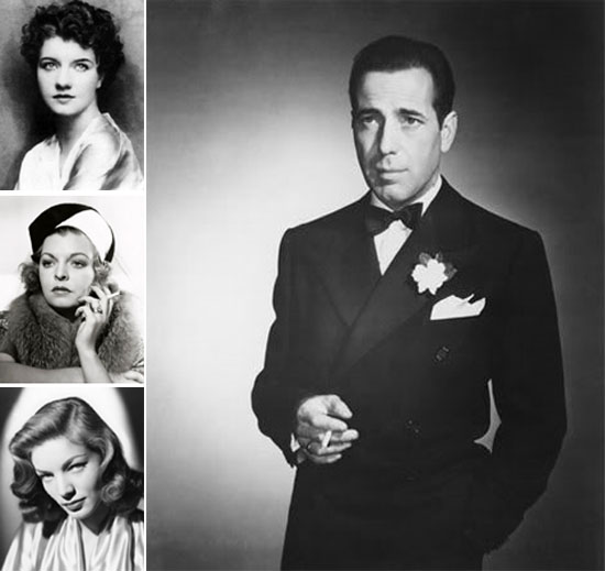 Left column from top: Mary Philips, Mayo Methot and Lauren Bacall; right: Humphrey Bogart