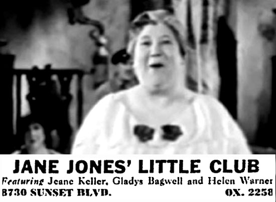 "Jane Jones as she appeared in ""Port of Lost Girls"" in 1938; inset: newspaper ad for her nightclub on the Sunset Strip"