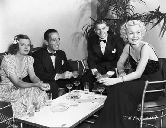 Neighbors: From left, Mayo Methot, Humphrey Bogart's third wife; Bogart; Ronald Reagan; and  his first wife, Jane Wyman