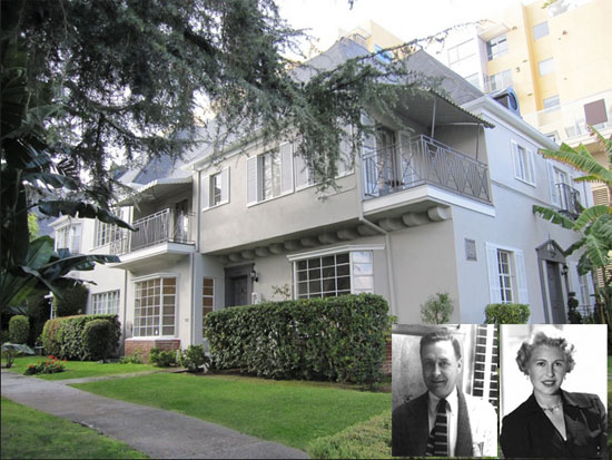 The building at 1443 N. Hayworth Ave. where Scott Fitzgerald died in 1940 s it appears today; inset: Fitzgerald and Sheilah Graham
