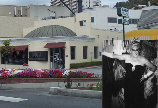 Building at 8711 Sunset Blvd, site of Cafe Internationale, as it appears today; inset: Rae Bourbon