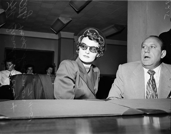 Brenda Allen with attorney Max Solomon at a bail hearing in 1951
