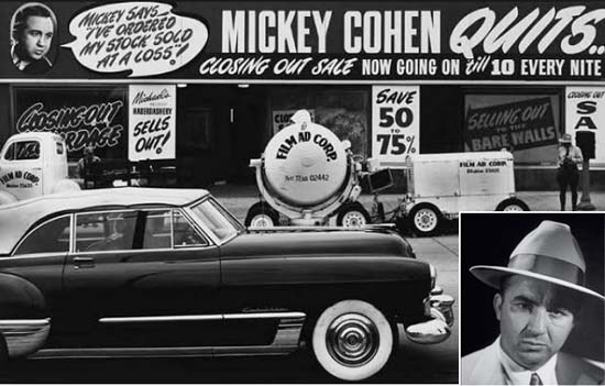 Mickey Cohen's storefront building around 1951 after he decided to quit the haberdashery business during an IRS investigation into his business dealings; inset: Mickey Cohen