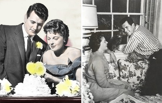 Left: Rock Hudson and Phyllis Gates with their wedding cake; right Rock and Phyllis at home, with a small dog-like creature