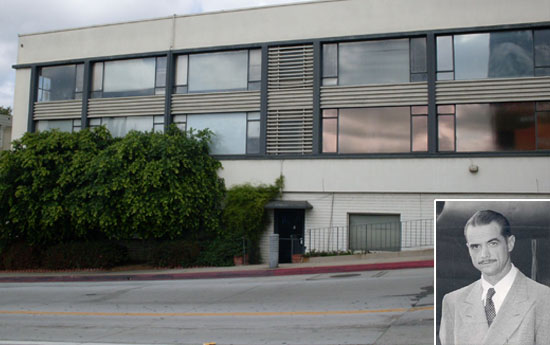 The building that housed Nosseck's screening room as it appears today; inset: Howard Hughes in the 1950s