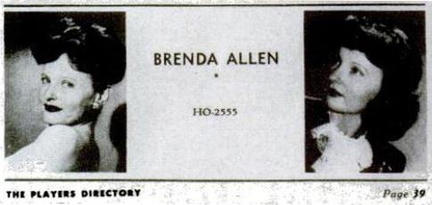 Ad for Brenda Allen's A-List Out Call Service That Appeared in the Motion Picture Academy's 'Player's Directory'
