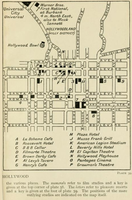 1933 Tourist Map of Hollywood  Playground to the Stars