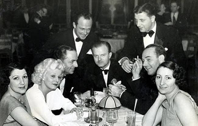 Cafe Trocadero on the Sunset Strip1935: From left, Edith Gwynne Wilkerson (wife of Trocadero owner Billy Wilkerson), Jean Harlow, William Powell, William Haines' lover Jimmy Shields (standing), Anderson Lawler (seated), unidentified man (standing), William Haines, Edith's sister Marge
