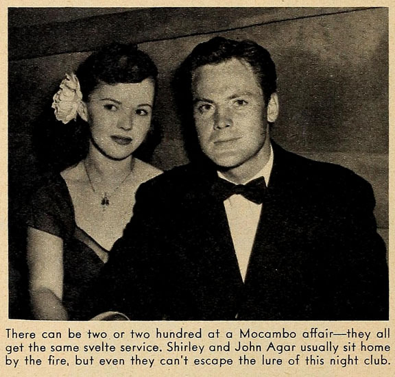 There can be two or two hundred at a Mocambo affair -- they all get the same svelte service. Shirley Temple and John Agar usually sit home by the fire, but even they can't escape the lure of this nightclub.
